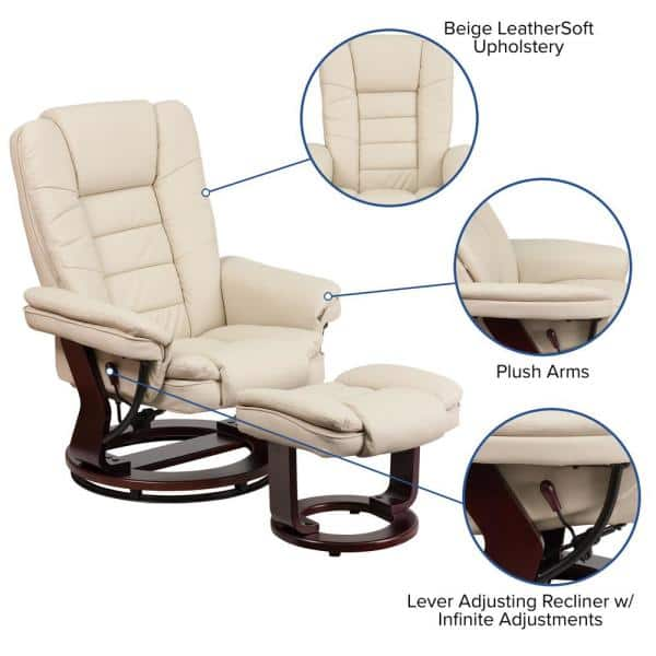 Flash Furniture Contemporary Beige, Flash Furniture Recliner Chair With Ottoman