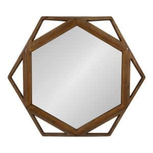 Medium Round Brown American Colonial Mirror (23.5 in. H x 27 in. W)