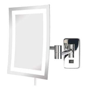 8 in. x 11 in. LED Lighted Wall Makeup Mirror in Chrome
