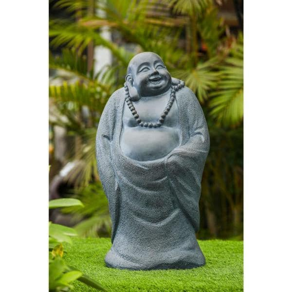 Luxen Home 24 2 In H Laughing Standing Buddha Garden Statue Whst499 The Home Depot