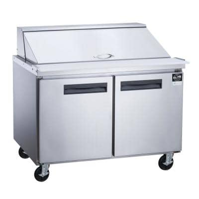 48.125 in. W 11.47 cu. ft. 2-Door Commercial Food Prep Table Refrigerator with Mega Top in Stainless Steel