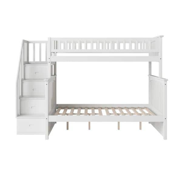 Atlantic Furniture Columbia Staircase Bunk Bed Twin over Full in White   The Home Depot