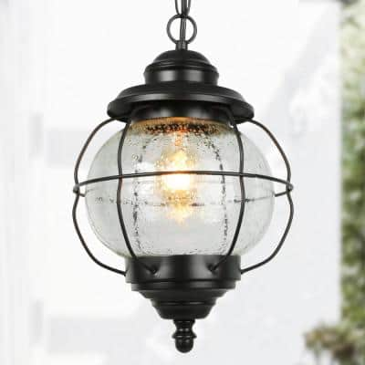 Globe 10.2 in. 1-Light Black Outdoor/Indoor Hanging Pendant Light Exterior Porch Light with Caged Seeded Glass Shade