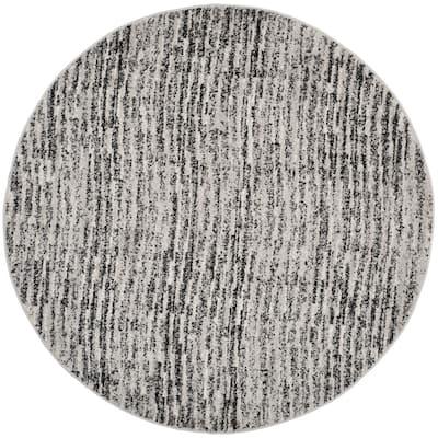 Adirondack Black/Silver 6 ft. x 6 ft. Round Area Rug