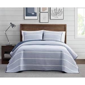 Niari Yarn Dye 3-Piece Blue Stripe Cotton King Quilt Set