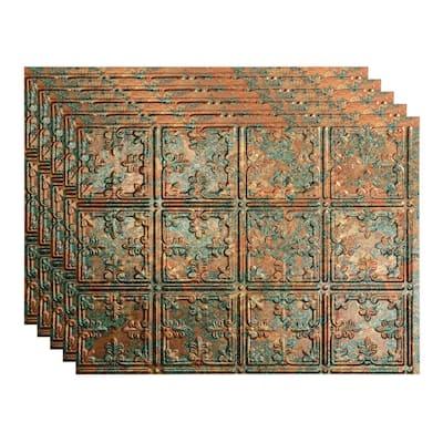 Traditional 10 18 in. x 24 in. Copper Fantasy Vinyl Decorative Wall Tile Backsplash 15 sq. ft. Kit