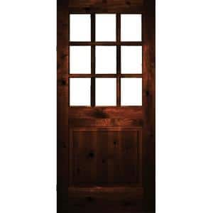 36 in. x 80 in. Rustic Knotty Alder Clear Low-E Glass 9-Lite Red Chestnut Stain Right Hand Single Prehung Front Door