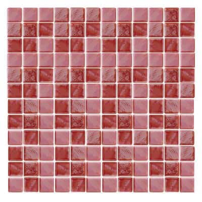 Irridecentz I-Red-1415 Mosaic Recycled Glass 12 in. x 12 in. Mesh Mounted Tile (5 sq. ft. / case)