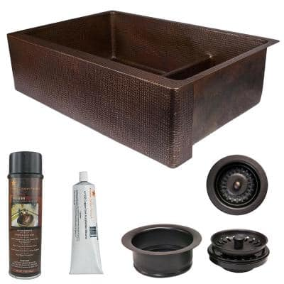 Dual Mount Copper 33 in. 0-Hole Double Bowl 70/30 Kitchen Apron Sink with Short Divide and Drain in Oil Rubbed Bronze