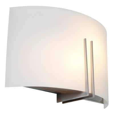Prong 12 in. 2-Light Brushed Steel Wall Sconce with White Glass Shade
