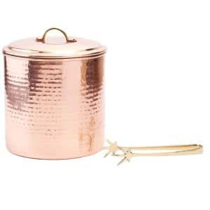 3 qt. Hammered Decor Copper Ice Bucket with Liner and Tongs