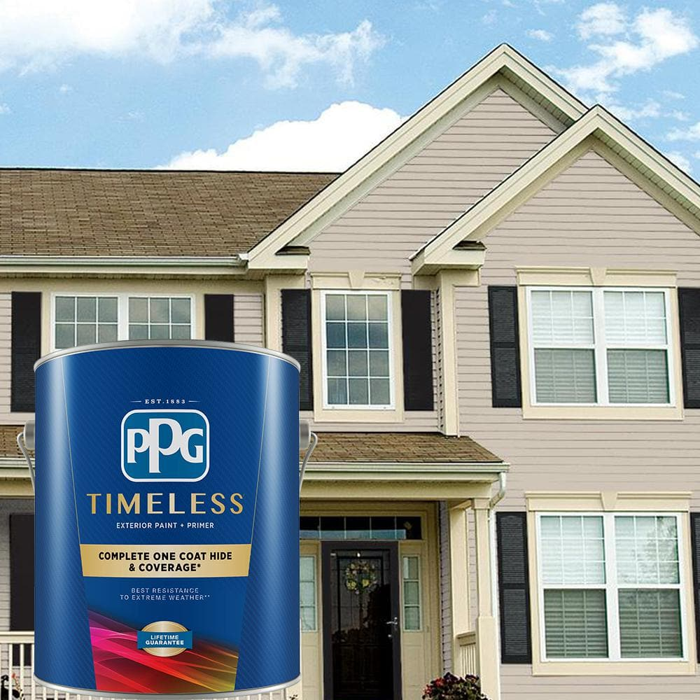 Ppg Timeless 1 Gal Synchronicity Ppg1021 2 Flat Exterior One Coat Paint With Primer Ppg1021 2tx 01f The Home Depot