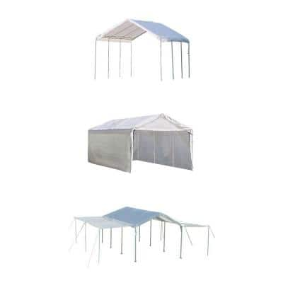 10 ft. W x 20 ft. H Max AP 3-in-1 Canopy in White w/ Enclosure and Extension Kits, Steel Frame, and Best-in-Class Pipes