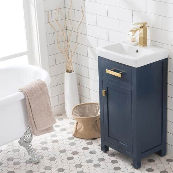 Water Creation Mia 18 In W Bath Vanity In Monarch Blue Finish With Ceramics Integrated Vanity Top With White Basin Mia18mb The Home Depot