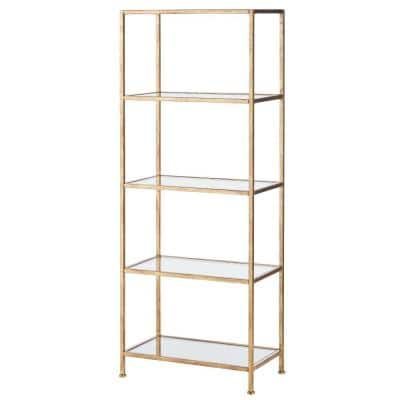 62.25 in. Gold Leaf Metal 4-shelf Accent Bookcase with Open Back
