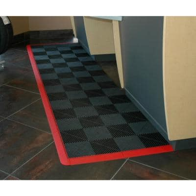 2.5 in. W x 15.75 in. L Chocolate Brown Looped Edging for 15.75 in. Modular Polypropylene Tile Flooring (2-Pack)