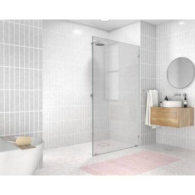 44 in. x 78 in. Frameless Fixed Panel Shower Door in Chrome without Handle