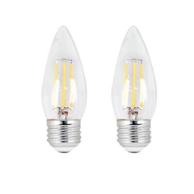 40-Watt Equivalent B10 E26 Base Dimmable Filament CEC ENERGY STAR 90 CRI Chandelier LED Light Bulb, Soft White (2-Pack)