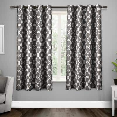 Black Pearl Trellis Thermal Blackout Curtain - 52 in. W x 63 in. L (Set of 2)