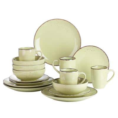 16-Piece Yellow Green Ceramic Dinnerware Set Plates and Bowls Set Mugs(Service for 4)