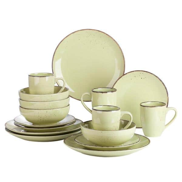 Vancasso 16 Piece Yellow Green Ceramic Dinnerware Set Plates And Bowls Set Mugs Service For 4 Vc Navia 11 Sl The Home Depot