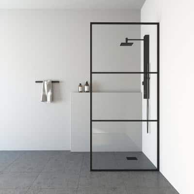 Divide 34 in. W x 74 in. H Fixed Framed Shower Door in Matte Black with Clear Glass