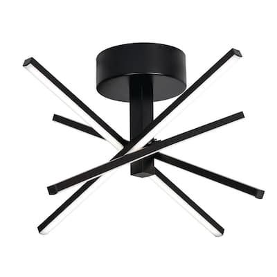 Jaxx 15 in. 4-Light Black LED Flush Mount