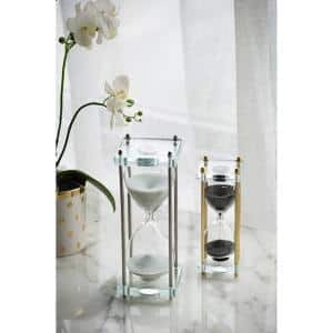 Gold with Black Sand and Crystal Accent Modern Chic Hourglass