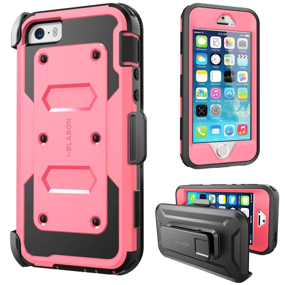 i-Blason iPhone 5S Armorbox Series Full Body Case with Screen Protector and Holster, Pink-iPhone-5S-Armorbox-Pink - The Home Depot