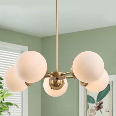 Modern Island Globe Chandelier Light, Elemo 5-Light Brass Gold Sputnik Chandelier with Round Opal Glass Shades