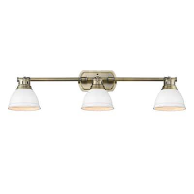Duncan AB 8.25 in. 3-Light Aged Brass Vanity Light