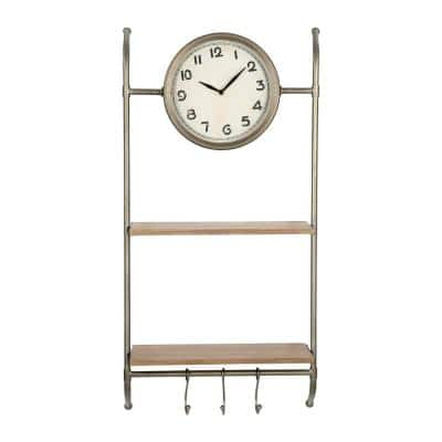 Bronze Metal Wall Clock with Shelves & Hooks