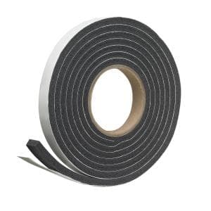 3/4 in. x 5/16 in. x 10 ft. Black Rubber Foam Weatherseal Tape