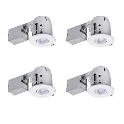 4 in. White IC Rated Dimmable Round Recessed Lighting Kit, LED Bulbs Included (4-Pack)
