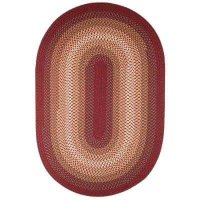 Pioneer Red Multi 5 ft. x 8 ft. Oval Indoor/Outdoor Braided Area Rug