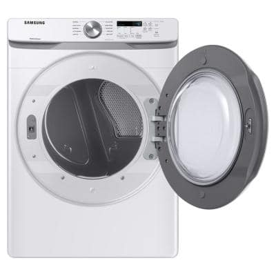 7.5 cu. ft. 240-Volt White Electric Dryer with Sensor Dryer (Pedestals Sold Separately)