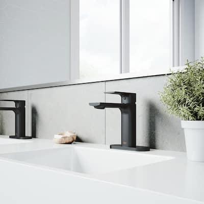 Davidson Single-Handle Single Hole Bathroom Faucet with Deck Plate in Matte Black