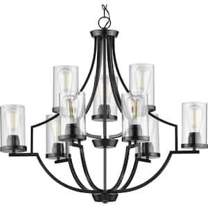 Lassiter Collection 9-Light Matte Black Clear Glass Modern Chandelier Light