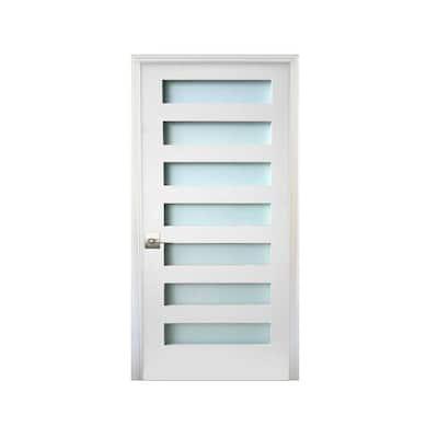 36 in. x 80 in. 7-Lite Satin Etch Primed Right-Handed Solid Core MDF Single Prehung Interior Door