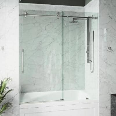 Elan Cass 56 to 60 in. W x 66 in. H Sliding Frameless Tub Door in Stainless Steel with Clear Glass