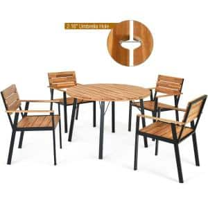 Round Table Wood Metal Outdoor Dining Table with Extension