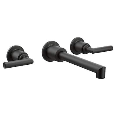 Arris Wall Mount 2-Handle Bathroom Faucet Trim Kit in Matte Black (Valve Not Included)