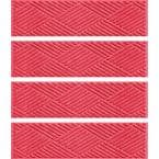Diamonds 8.5 in. x 30 in. Stair Treads (Set of 4) Solid Red