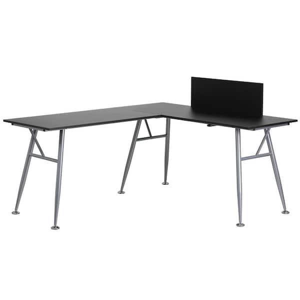 Flash Furniture Black Laminate L Shape, Flash Furniture Black Computer Desk With Pull Out Keyboard Tray