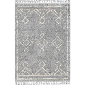 Mackie Moroccan Diamond Shag Gray 10 ft. x 14 ft. Area Rug