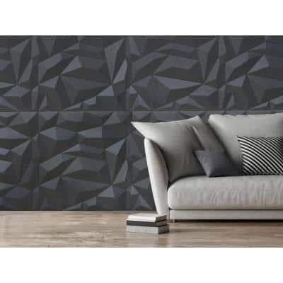 24 in. x 24 in. Glacier PVC Seamless 3D Wall Panels in Smoked Gray 12-Pieces