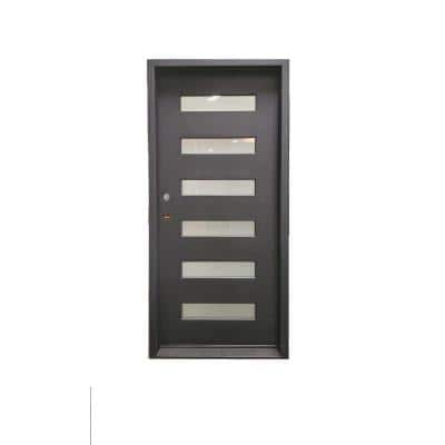 38 in. x 81 in. 1-Panel Right-Hand/Inswing Fix Frosted Glass Dark Bronze Finished Iron Prehung Front Door