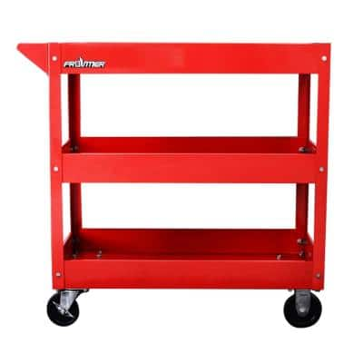 29 in. 3-Tray Rolling Tool Utility Cart in Red