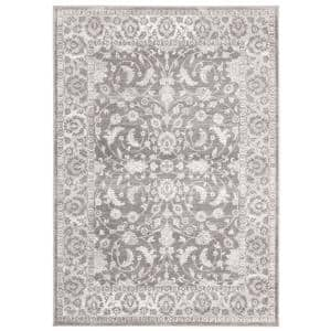 Brentwood Cream/Gray 5 ft. x 8 ft. Floral Border Area Rug