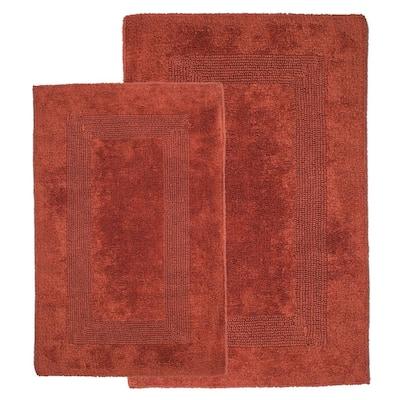 Brick 1 ft. 10 in. x 2 ft. 11 in. Cotton 2-Piece Bath Rug Set